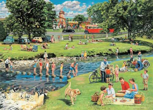 The Picnic (HOL096121), a 1000 piece jigsaw puzzle by Holdson. Click to view larger image.