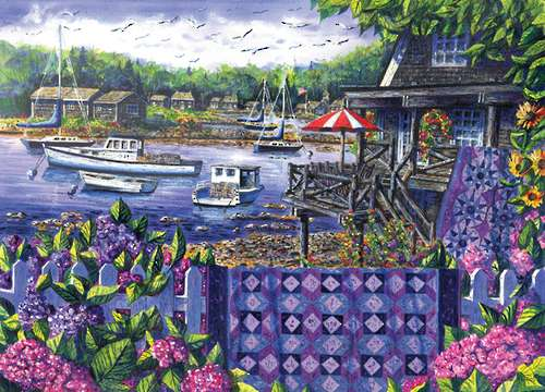 Harbour View (Patchworks) (HOL096152), a 1000 piece jigsaw puzzle by Holdson. Click to view larger image.