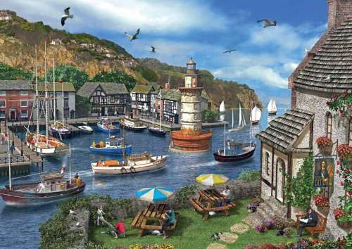 Summertime Harbour (JUM11052), a 1000 piece jigsaw puzzle by Jumbo. Click to view larger image.