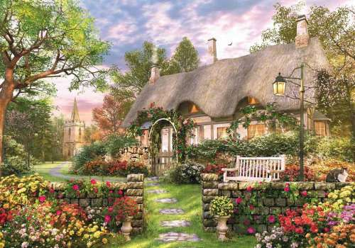 Whitesmith's Cottage (JUM11075), a 1000 piece jigsaw puzzle by Jumbo. Click to view larger image.