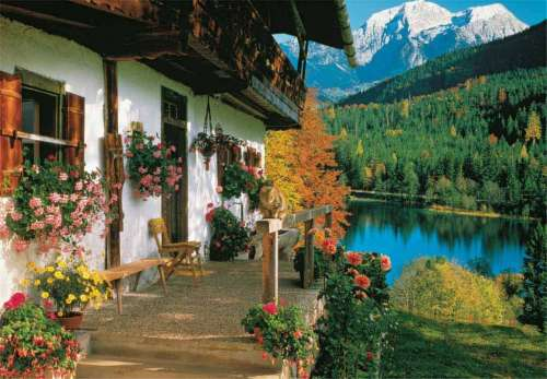 Mountain Cottage (JUM17031), a 1000 piece jigsaw puzzle by Jumbo. Click to view larger image.