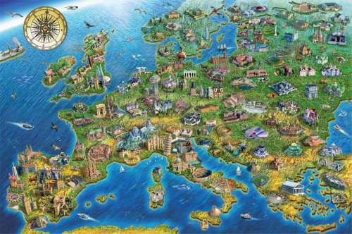 Map of Europe (JUM18321), a 1000 piece jigsaw puzzle by Jumbo. Click to view larger image.