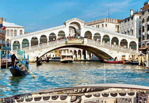 Rialto Bridge, Venice (JUM17030), a 1000 piece jigsaw puzzle by Jumbo. Click to view larger image.