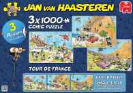 JVH Tour De France 3-in-1 Special Pack (JUM19019), a 1000 piece jigsaw puzzle by Jumbo and artist Jan van Haasteren. Click to view this jigsaw puzzle.