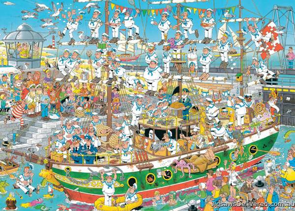 Tall Ship Chaos (JUM19014), a 1000 piece jigsaw puzzle by Jumbo.