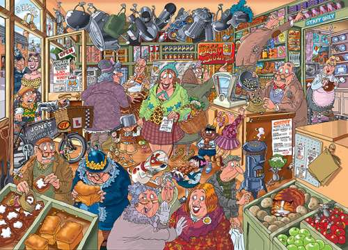 Shopping Shake Up (Destiny Wasgij #15) (HOL96510), a 1000 piece jigsaw puzzle by Holdson. Click to view larger image.