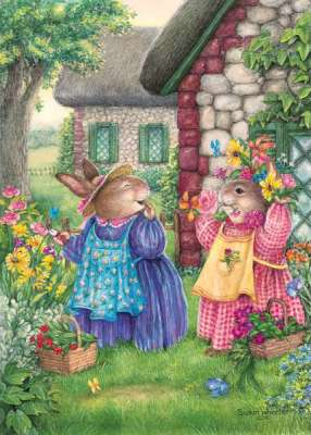 Flowerbed Friends (HOL096374), a 1000 piece jigsaw puzzle by Holdson. Click to view larger image.