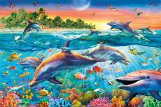 Tropical Dolphins (CLE 30170), a 500 piece Clementoni jigsaw puzzle.