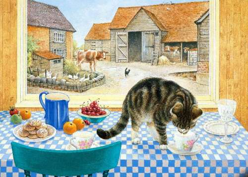 Twiglet on the Table (HOL096466), a 1000 piece jigsaw puzzle by Holdson. Click to view larger image.