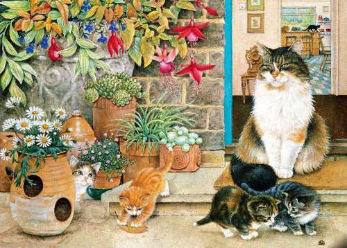 Agnethea and her Kittens (HOL096435), a 1000 piece jigsaw puzzle by Holdson. Click to view larger image.