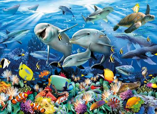 Underwater (CLE 36521), a 6000 piece jigsaw puzzle by Clementoni. Click to view larger image.