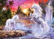 Unicorns by the River (Glow in the Dark) (RB14873-8), a 500 piece Ravensburger jigsaw puzzle.