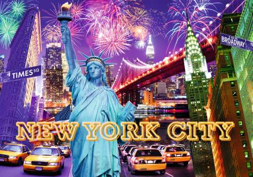 New York (Glow in the Dark) (RB16181-2), a 1200 piece jigsaw puzzle by Ravensburger. Click to view larger image.
