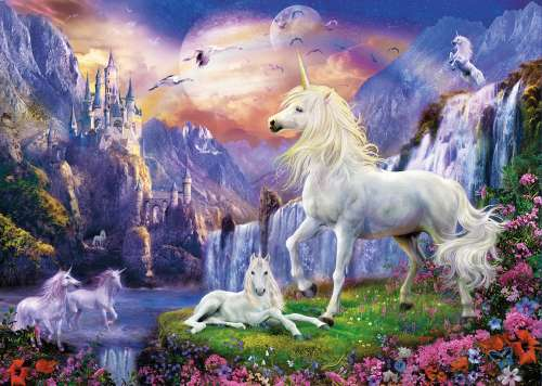 Unicorn Evening (Glow in the Dark) (CLE 39285), a 1000 piece jigsaw puzzle by Clementoni. Click to view larger image.