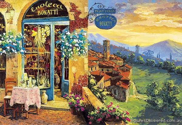 L'Enoteca Cafe (CLE 32552), a 2000 piece jigsaw puzzle by Clementoni.
