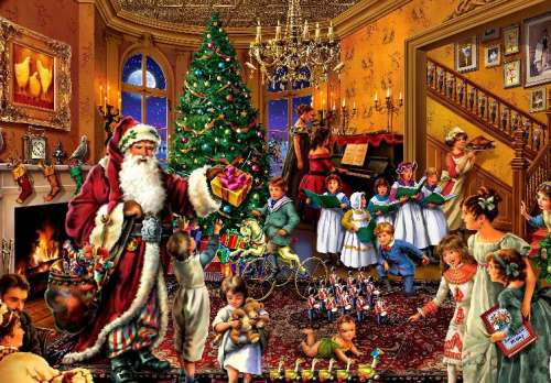 Christmas in the Parlour (HOL096671), a 1000 piece jigsaw puzzle by Holdson. Click to view larger image.