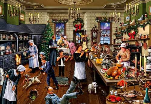 Christmas in the Kitchen (HOL096688), a 1000 piece jigsaw puzzle by Holdson. Click to view larger image.