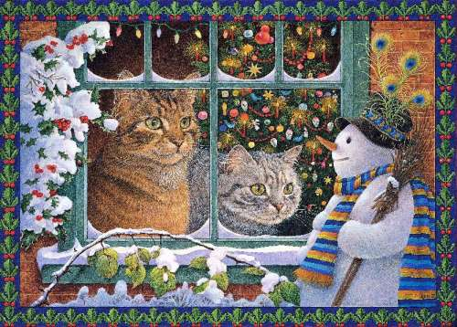 Megatab and the Snowman (HOL096442), a 1000 piece jigsaw puzzle by Holdson. Click to view larger image.