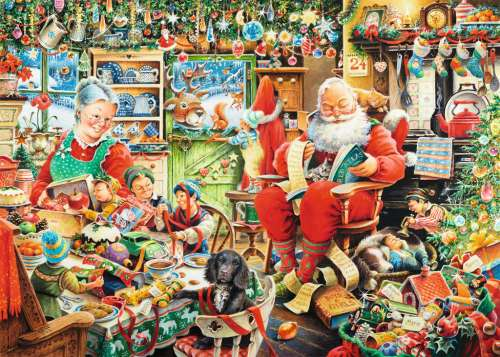 Santa's Final Preparations (RB19558-9), a 1000 piece jigsaw puzzle by Ravensburger. Click to view larger image.