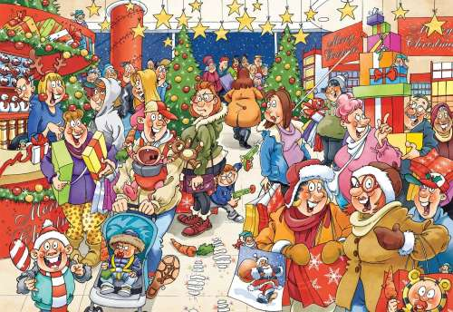 The Mystery Shopper (Christmas Wasgij #10) (HOL96664), a 1000 piece jigsaw puzzle by Holdson. Click to view larger image.