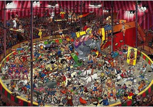 The Circus (5000pc) (JUM19018), a 5000 piece jigsaw puzzle by Jumbo. Click to view larger image.