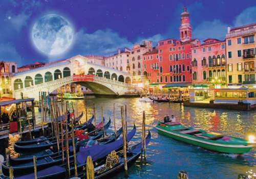 Venice Full Moon (Glow in the Dark) (RB16182-9), a 1200 piece jigsaw puzzle by Ravensburger. Click to view larger image.