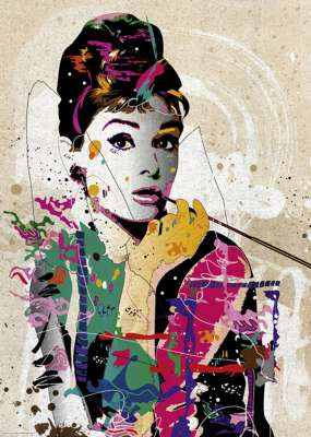 Audrey Hepburn - Breakfast at Tiffany's (HEY29684), a 1000 piece jigsaw puzzle by HEYE. Click to view larger image.