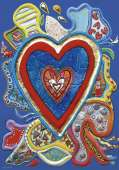 Red & Blue Hearts (HEY29707), a 500 piece HEYE jigsaw puzzle.