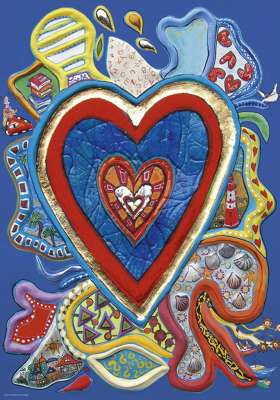 Red & Blue Hearts (HEY29707), a 500 piece jigsaw puzzle by HEYE. Click to view larger image.