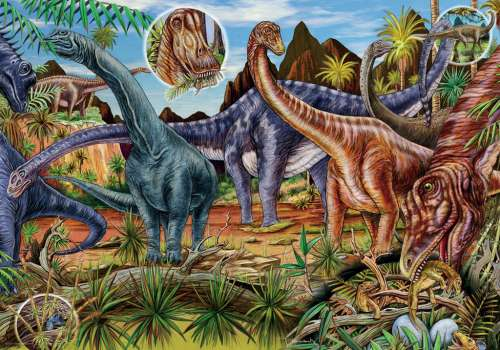 Dinosaurs (Herbivores) (HEY29722), a 500 piece jigsaw puzzle by HEYE. Click to view larger image.