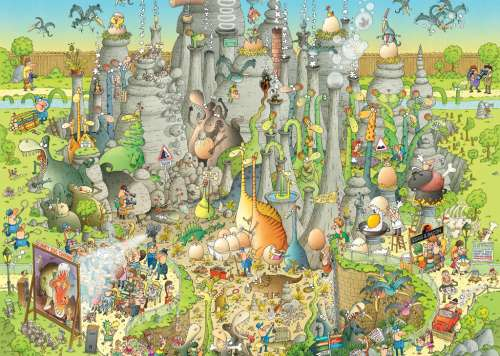 Jurassic Habitat (Funky Zoo) (HEY29727), a 1000 piece jigsaw puzzle by HEYE. Click to view larger image.