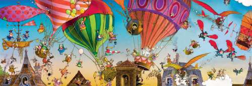 Ballooning (Panoramic) (HEY29756), a 1000 piece jigsaw puzzle by HEYE. Click to view larger image.