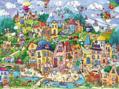 Happytown (HEY29744), a 1500 piece jigsaw puzzle by HEYE. Click to view larger image.
