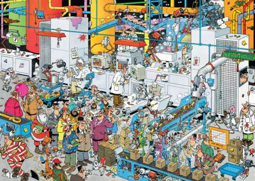 Candy Factory (JUM19025), a 500 piece jigsaw puzzle by Jumbo. Click to view larger image.