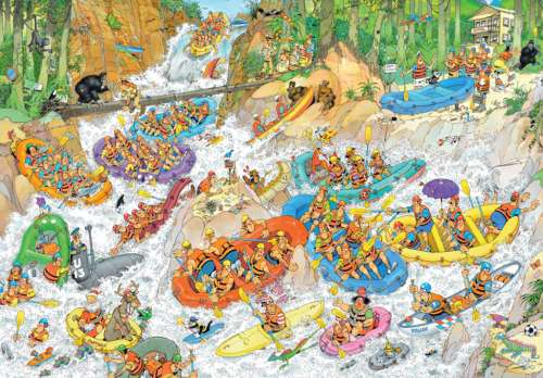 Wild Water Rafting (1500pc) (JUM19015), a 1500 piece jigsaw puzzle by Jumbo. Click to view larger image.
