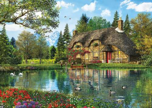 Lake View Cottage (EDU16774), a 2000 piece jigsaw puzzle by Educa. Click to view larger image.
