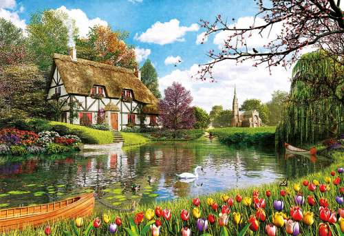 Lakeside Cottage, Spring (EDU16784), a 6000 piece jigsaw puzzle by Educa. Click to view larger image.