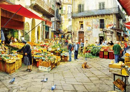 La Vucciria Market, Palermo Italy (EDU16780), a 3000 piece jigsaw puzzle by Educa. Click to view larger image.