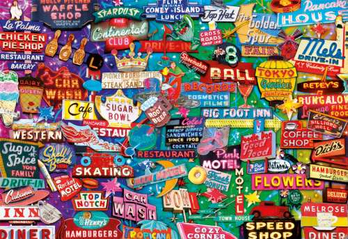 Retro Neon Signs (EDU16753), a 1000 piece jigsaw puzzle by Educa. Click to view larger image.