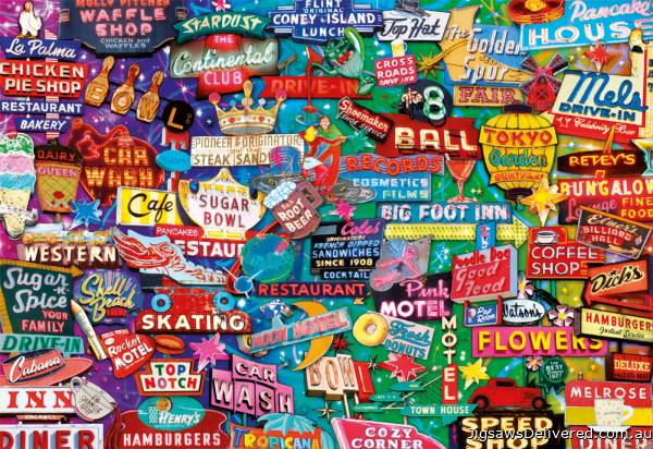 Retro Neon Signs (EDU16753), a 1000 piece jigsaw puzzle by Educa.