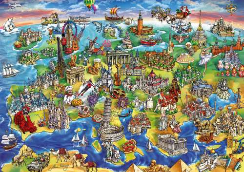 European World (EDU16752), a 1000 piece jigsaw puzzle by Educa. Click to view larger image.