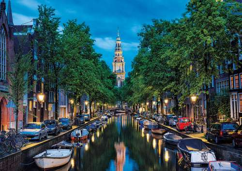 Amsterdam Canal at Dusk (EDU16767), a 1500 piece jigsaw puzzle by Educa. Click to view larger image.