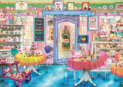 Cake Shop (EDU16769), a 1500 piece jigsaw puzzle by Educa. Click to view larger image.