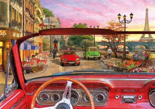 Paris with the Top Down (EDU16768), a 1500 piece jigsaw puzzle by Educa. Click to view larger image.