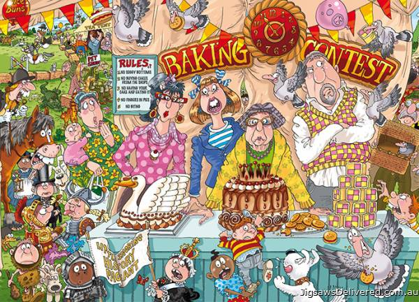 The Bake Off! (Original Wasgij 23) (HOL97302), a 1000 piece jigsaw puzzle by Holdson.