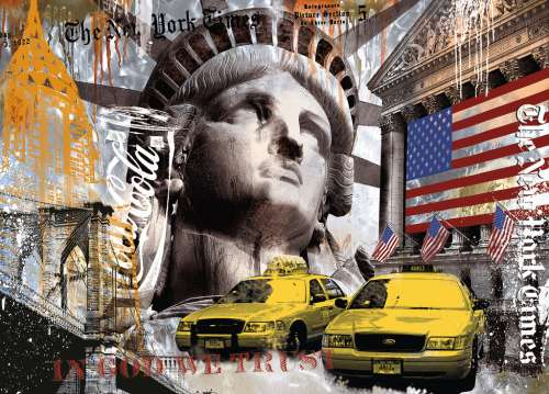 New York Collage (RB17803-2), a 9000 piece jigsaw puzzle by Ravensburger. Click to view larger image.