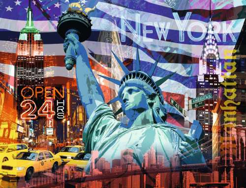 New York Collage (RB16687-9), a 2000 piece jigsaw puzzle by Ravensburger. Click to view larger image.