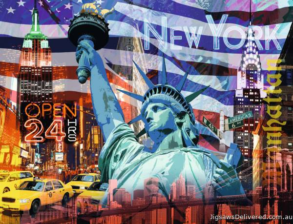 New York Collage (RB16687-9), a 2000 piece jigsaw puzzle by Ravensburger.