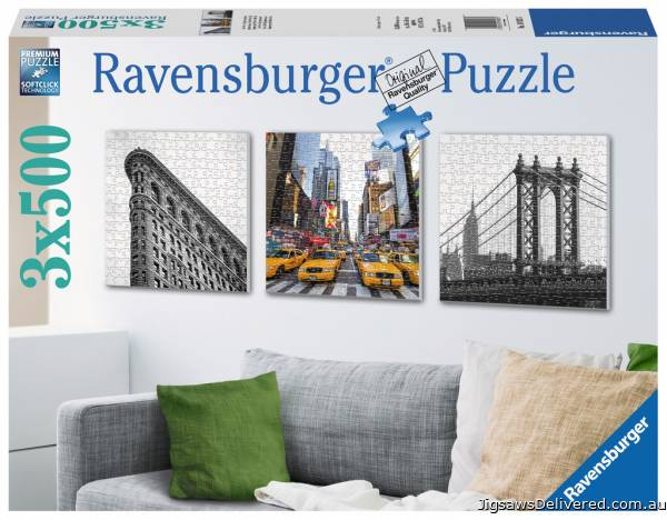 New York Impressions (3 x 500pc) (RB19923-5), a 500 piece jigsaw puzzle by Ravensburger.