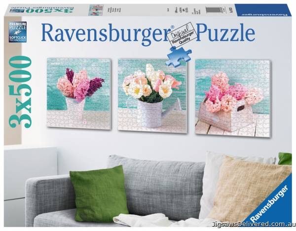 Floral Delights (3 x 500pc) (RB19922-8), a 500 piece jigsaw puzzle by Ravensburger.